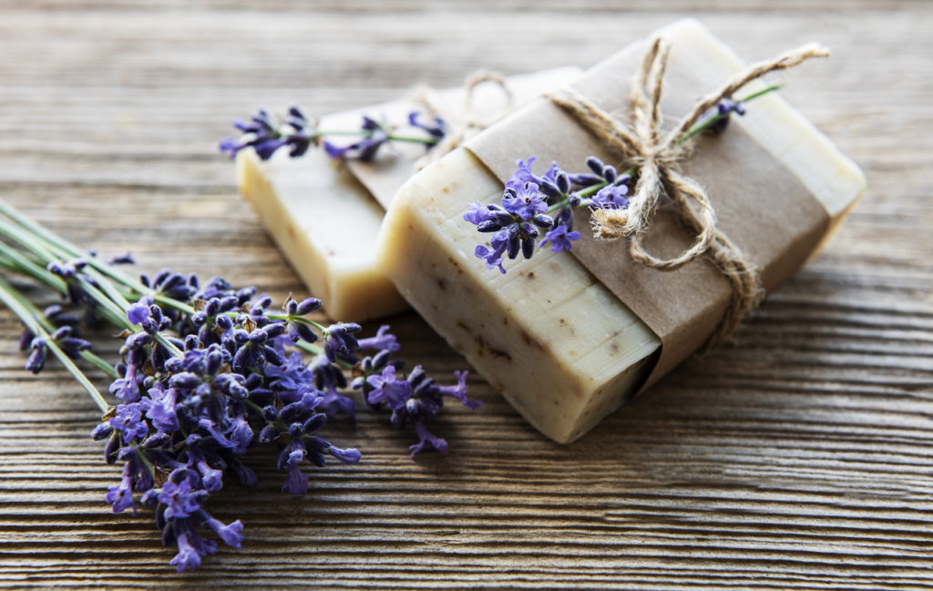 Bars of handmade soap with lavender
