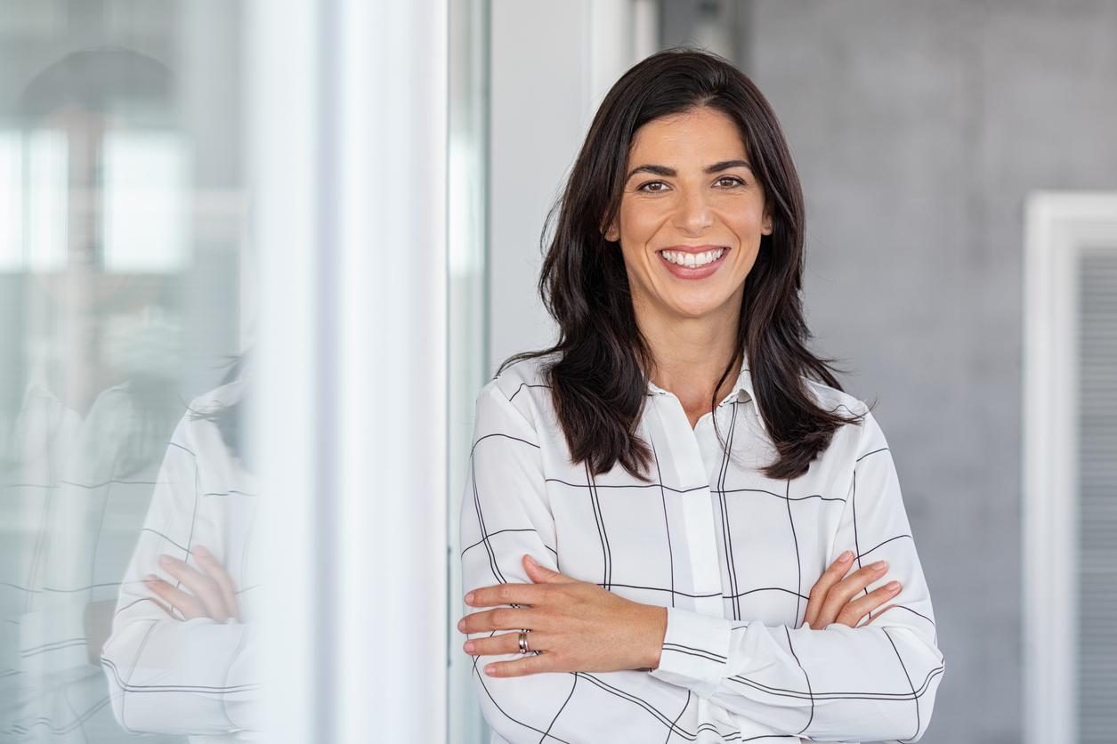 Successful Business Women using Blue Strawberry